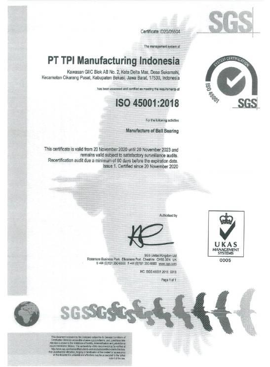 ISO 45001:2018 Indonesia Plant